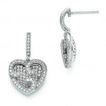 CZ Heart Dangle Post Earrings in Sterling Silver