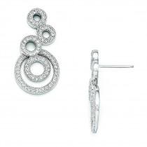 CZ Circle Dangle Post Earrings in Sterling Silver