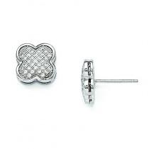 CZ Fancy Post Earrings in Sterling Silver
