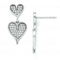 CZ Dangle Heart Post Earrings in Sterling Silver
