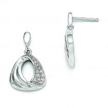 CZ Fancy Dangle Post Earrings in Sterling Silver