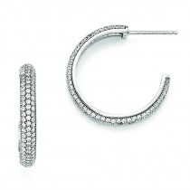 CZ Hoop Earrings in Sterling Silver