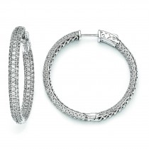 Inch Diameter CZ Hoop Earrings in Sterling Silver