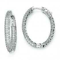 8 Inch Diameter CZ Hoop Earrings in Sterling Silver