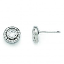 CZ Post Earrings in Sterling Silver