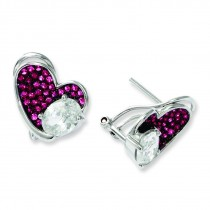 CZ Brilliant Embers Pink Heart Post Earrings in Sterling Silver
