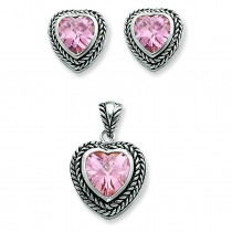 Pink CZ Heart Pendant Earrings Set in Sterling Silver