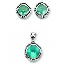 Blue CZ Pendant Earrings Set in Sterling Silver