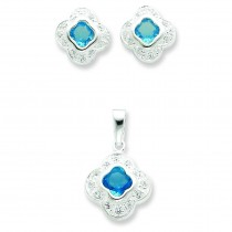 Blue CZ Earrings And Pendant Set in Sterling Silver
