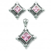 Pink CZ Pendant Earrings Set in Sterling Silver