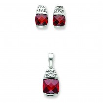 Red Clear CZ Pendant Earrings Set in Sterling Silver