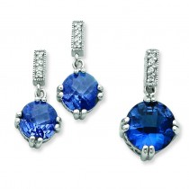 Blue Clear CZ Pendant Earrings Set in Sterling Silver