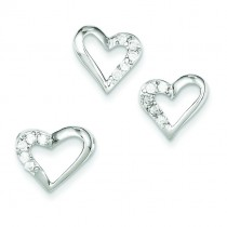 CZ Heart Pendant Earrings Set in Sterling Silver