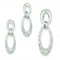 CZ Oval Earrings Pendant Set in Sterling Silver