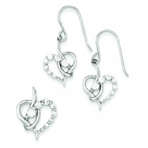CZ Heart Earrings Pendant Set in Sterling Silver