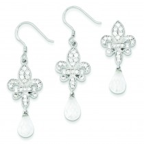 Fleur-de-lis CZ Earrings Pendant Set in Sterling Silver