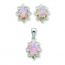 Opal CZ Pendant Earrings Set in Sterling Silver