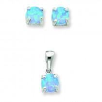 Opal Pendant Earrings Set in Sterling Silver