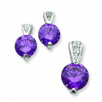 Purple Color CZ Earrings And Pendant Set in Sterling Silver