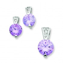 Lavender CZ Earrings And Pendant Set in Sterling Silver