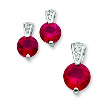 Red CZ Earrings And Pendant Set in Sterling Silver