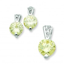 Yellow CZ Earrings And Pendant Set in Sterling Silver