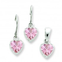Pink CZ Heart Earrings And Pendant Set in Sterling Silver