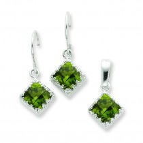 Olivine CZ Earrings And Pendant Set in Sterling Silver