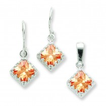 Champagne CZ Earrings And Pendant Set in Sterling Silver