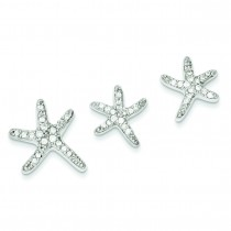 CZ Starfish Earrings And Pendant Set in Sterling Silver