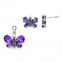 Marcasite And Purple CZ Earrings And Pendent Set in Sterling Silver