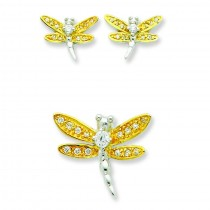 Yellow CZ Dragonfly Earrings And Pendent Set in Sterling Silver