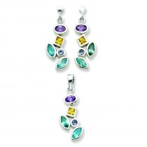 Multicolored CZ Earrings And Pendant Set in Sterling Silver