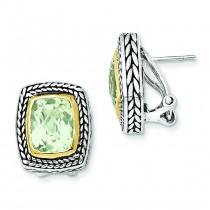 Green Amethyst Earrings in 14k Yellow Gold & Sterling Silver
