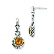 W Citrine Earrings in Sterling Silver