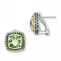 W 8Green Amethyst Earrings in 14k Yellow Gold & Sterling Silver