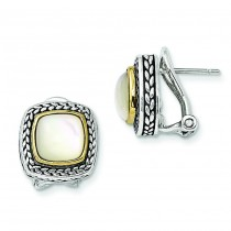 W Mother Of Pearl Earrings in 14k Yellow Gold & Sterling Silver