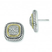 W Diamond Post Earrings in 14k Yellow Gold & Sterling Silver (0.21 Ct. tw.)