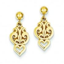 Fancy Dangle Post Earrings in 14k Yellow Gold