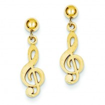 Diamond Cut Treble Clef Dangle Post Earrings in 14k Yellow Gold