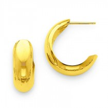 J-Hoop Earrings in 14k Yellow Gold