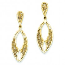 Diamond Cut Fancy Filigree Dangle Post Earrings in 14k Yellow Gold