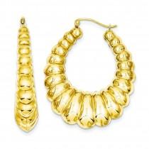 Scalloped Hoop Earrings in 14k Yellow Gold