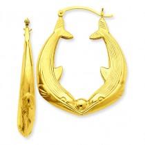 Dolphin Hoop Earrings in 14k Yellow Gold