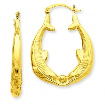 Dolphin Hoop Earrings in 14k Yellow Gold