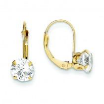 CZ Leverback Earrings in 14k Yellow Gold