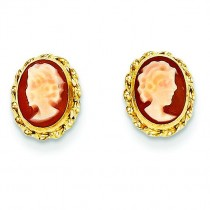 Cameo Post Earrings in 14k Yellow Gold
