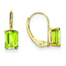 Emerald Shape Peridot Earrings in 14k Yellow Gold