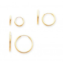 Pair Set Endless Hoop Earrings in 14k Yellow Gold