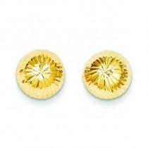 Diamond Cut Button Post Earrings in 14k Yellow Gold